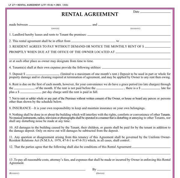 rental agreement template   datariouruguay