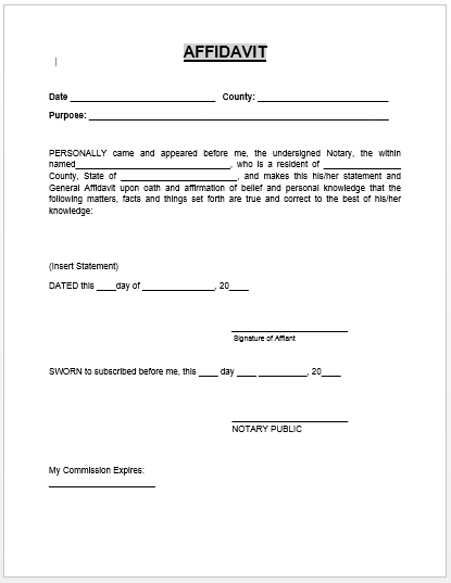 Old Fashioned image for printable affidavit