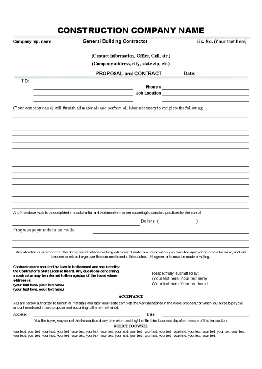 Construction proposal template real estate forms for Time and materials contract template download