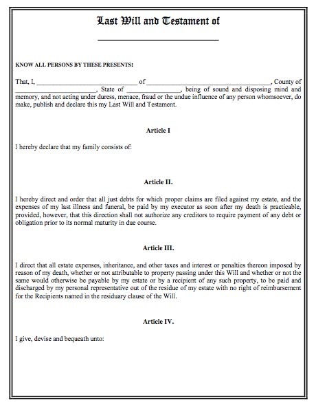 Last will and testament template real estate forms for Joint will and testament template