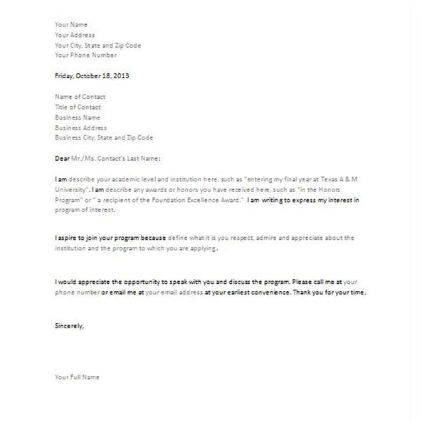 Letter Of Intent Sample For Job Fair Cover Letter Examples – Sample Letter of Intent Template