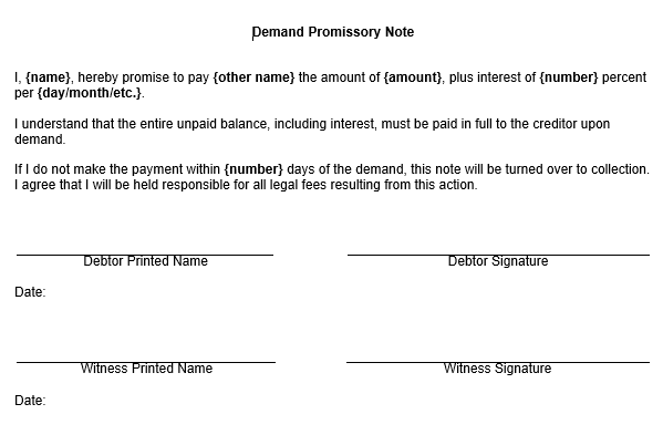 ... Promissory Note Form ...  Printable Promissory Note Form