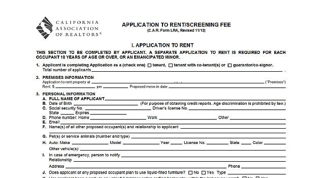 Rental Application  Real Estate Forms