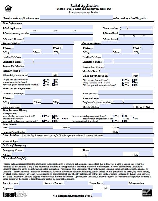 Rental Application Form Real Estate Forms