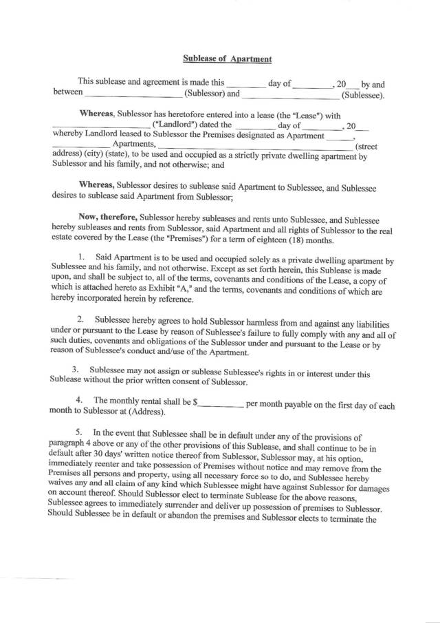Sublease Agreement Template – Sublet Agreement Template