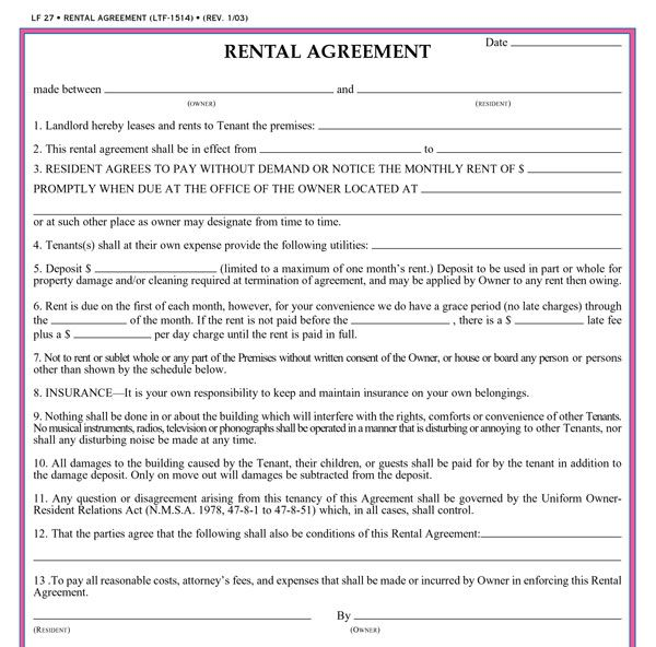 Free Printable Rental Agreements  Real Estate Forms