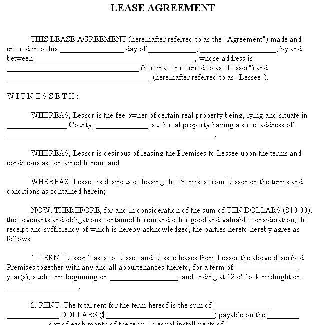 Free Rental Agreement Template  Real Estate Forms