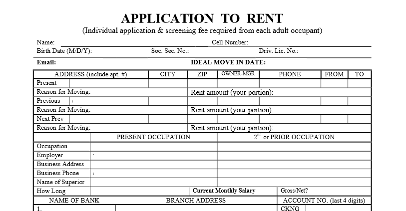 Generic Rental Application – Tenant Information Form