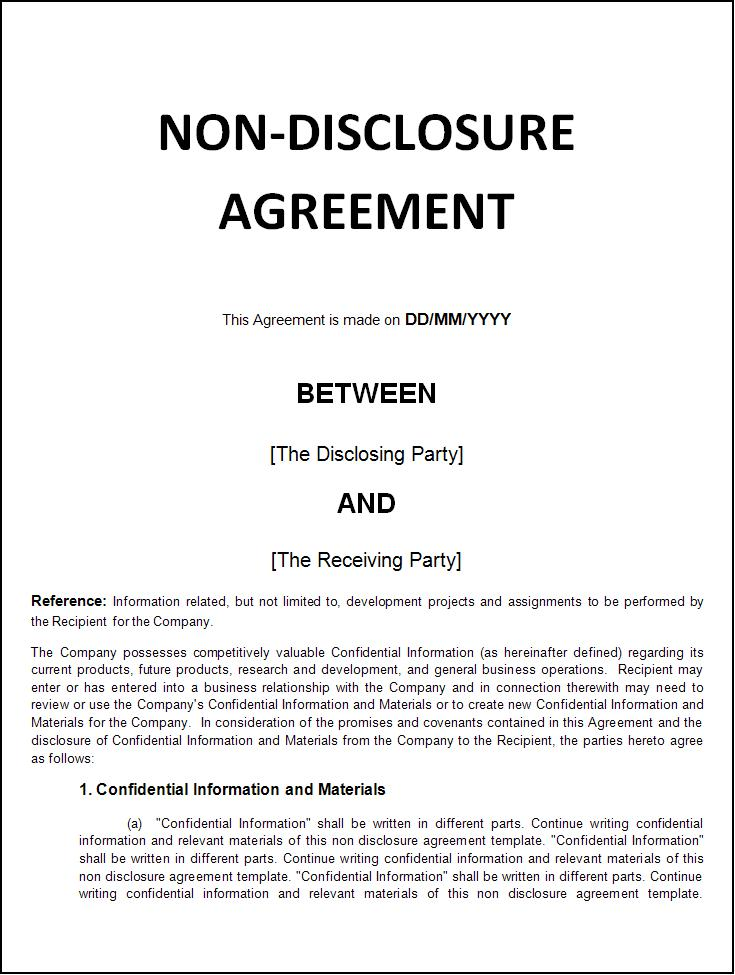 Sample Non Disclosure Agreements. 40 Non Disclosure Agreement