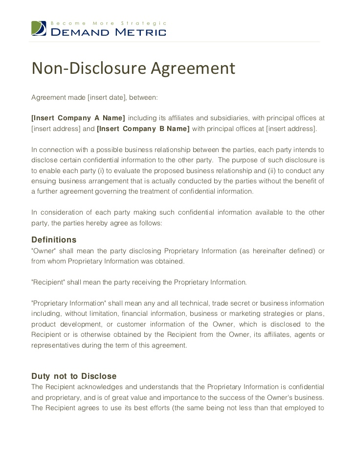 Non Disclosure Agreement Sample | Real Estate Forms