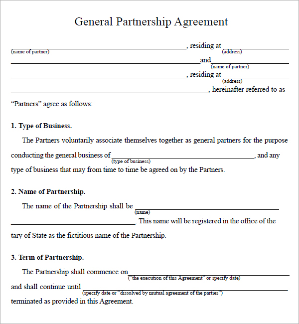 Template partnership agreement 28 images sle general for Rto partnership agreement template