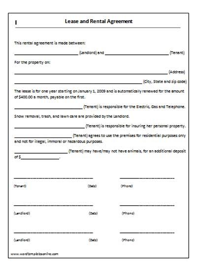 Rent Lease Agreement  Real Estate Forms