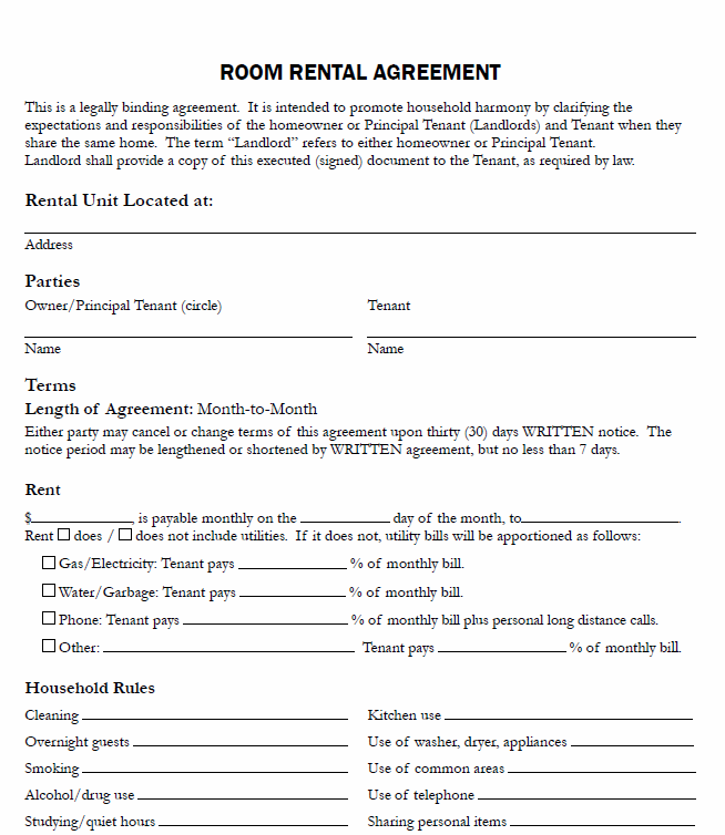 Room Rental Shared Housing Aggrement