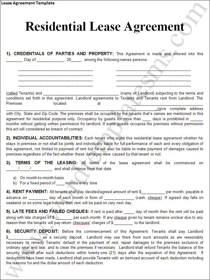 Rental lease agreement templates free real estate forms for Rent to buy contract template