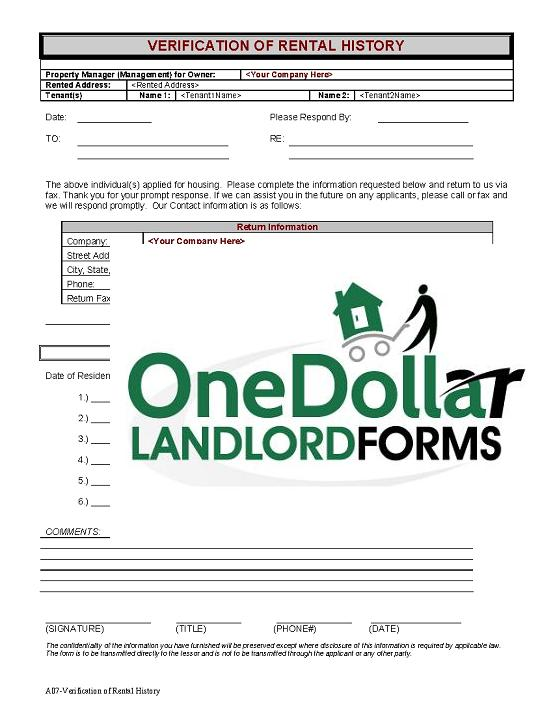 Rental Verification | Real Estate Forms