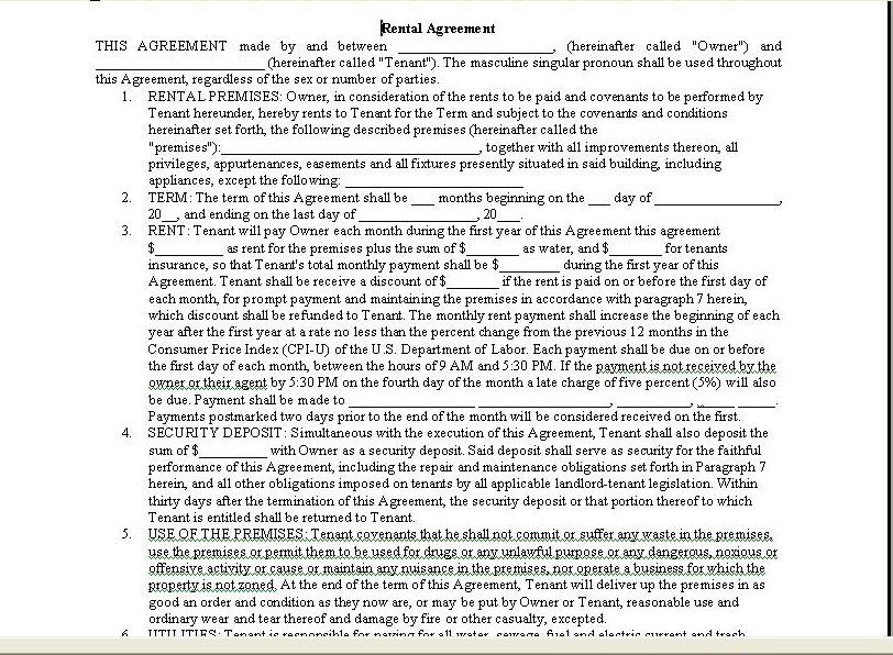 Room Rental Agreement Form | Real Estate Forms