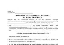 AFFIDAVIT OF EQUITABLE INTEREST