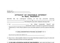 AFFIDAVIT OF EQUITABLE INTEREST
